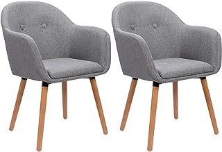 WOLTU Lot de 2 Chaises de Cuisine chaises de Loisirs chaises de Salle à Manger,Chaises de Relax en Lin et Bois Massif,Gris...