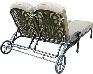 K&B PATIO LD777-99 Elizabeth Double Chaise Lounge with Cushion, Antique Bronze