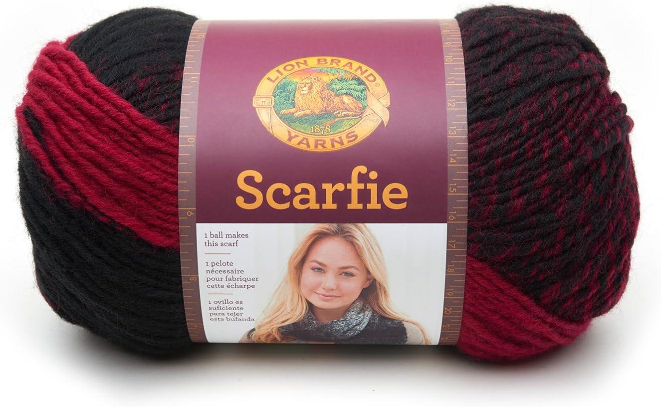 Lion Brand Yarn 826-205 Scarfie Yarn, 1 Pack, Cranberry/Black