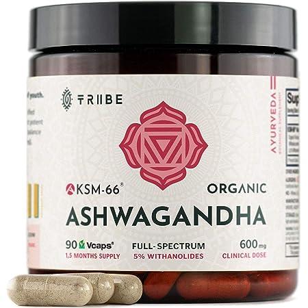 Tribe Organics, 600mg KSM-66 Ashwagandha Root Extract Powder Ayurvedic Herb for Mood Support, Increase Energy, Strength - Organic, Natural, Gluten Free, Non GMO, Full-Spectrum - 90 Capsules