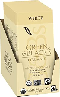 Green & Black's Organic White Chocolate bar With Vanilla, 30% Cacao, 10Count