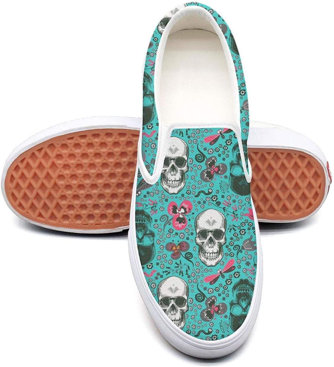 bluee Mexican Candy Art Skull Party Slip On Rubber Sole Sneakers Canvas shoes for Women Round Toe