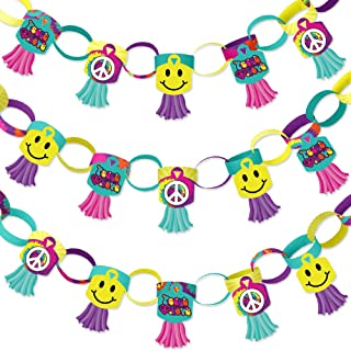 Big Dot of Happiness 60's Hippie - 90 Chain Links and 30 Paper Tassels Decoration Kit - 1960s Groovy Party Paper Chains Garland - 21 feet