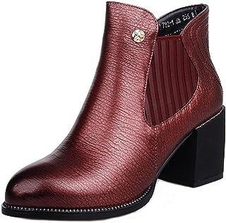botas botas Inglaterra botas de Viento Martin Robusta con una Sola botas botas Desnudas (Color   Vin rojo, tamao   35)