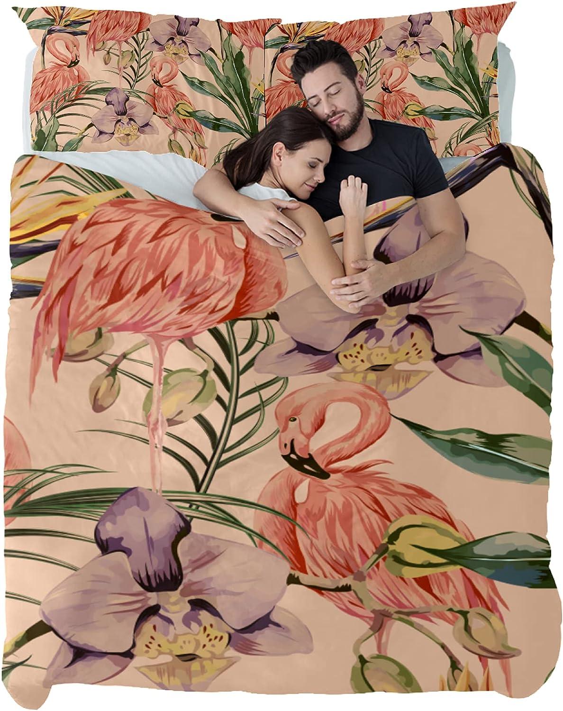 [並行輸入品] Dragon Sword Bedding Sets Pink Flamingo Jungle Printed 海外限定 D in 3PCS