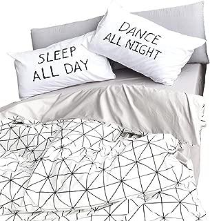 HIGHBUY Geometric Pattern Cotton Kids Duvet Cover Sets Twin Lightweight Soft Reversible Children Bedding Collections 3 Piece Bedding Sets for Teens Girls Boys Zipper Closure