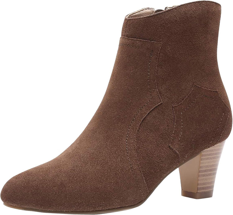 U-lite Womens 6 cm Pointed Toe Suede Calfskin Chelsea Booties Zip Up Slip On Warm Lining Boots