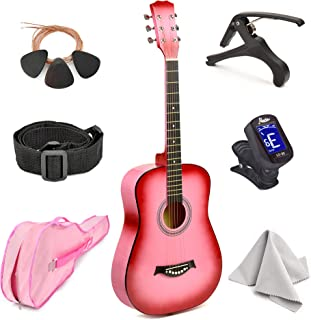 """Master-play Beginner Wood Acoustic Guitar 38"""" For Boys/Girls/Teens With Accessories Kit, Case, Strap, Pick, Digital Tune..."""