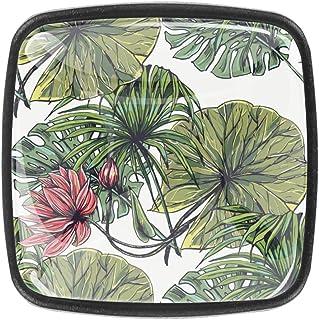 Tirador de cajones con diseño de hojas exóticas 4 unidades con tornillos para el hogar oficina aparador muebles y arm...