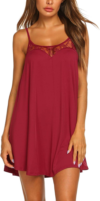 Ekouaer Nightgown Sexy Lingerie for Women Nightwear Lace Chemise Sleeveless Camisole Slip Dress Babydoll Sleepwear