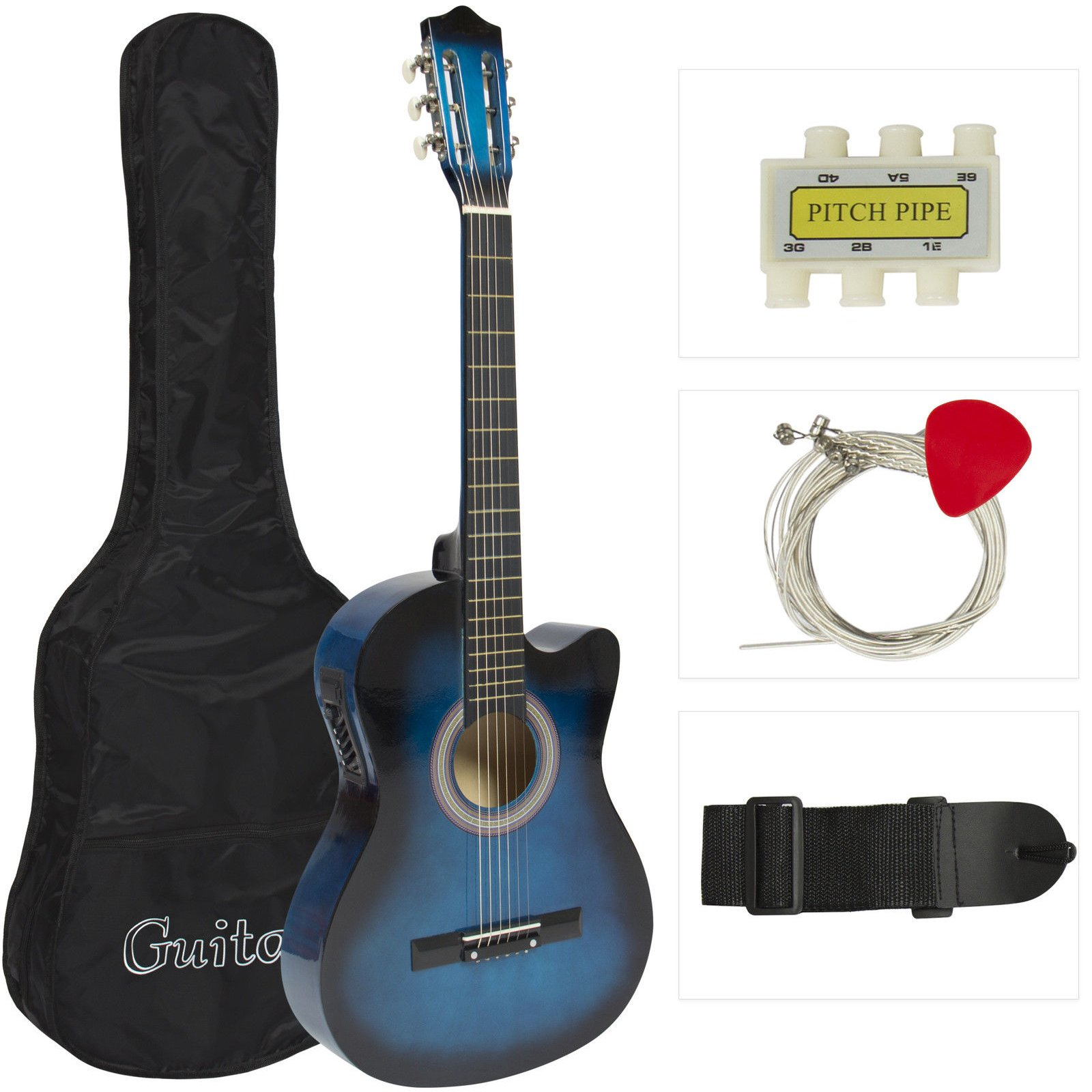 Cheap Electric Acoustic Guitar Cutaway Design With Guitar Case Strap Tuner Blue New Black Friday & Cyber Monday 2019