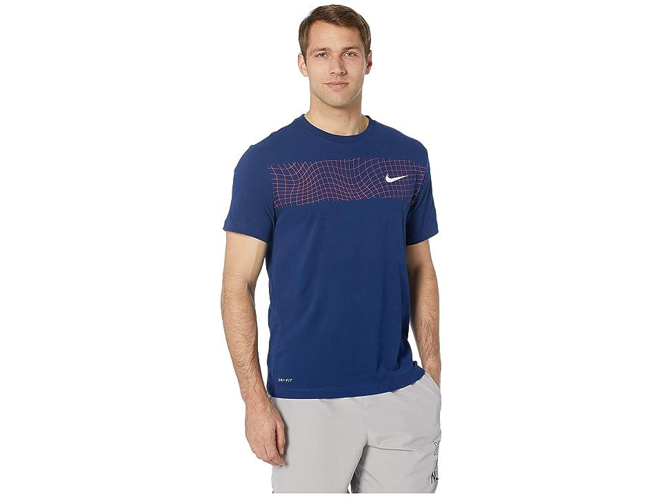 Nike Dry Tee Dri-FITtm Cotton Grid Bar (Blue Void/Pink Foam) Men