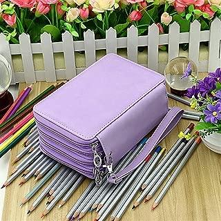 YWSCXMY-AU 4-Layer Portable PU Leather School Pencil Case Large Capacity Color Pencil Bag Student Gift Art Supplies (Color : Purple)