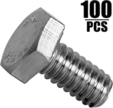 100 Pieces 1/4-20 x 1/2 Stainless Steel Hex Bolts, KINJOEK Hex Head Cap Screw Bolts, 18-8 (304) S/S Bolts Fastener
