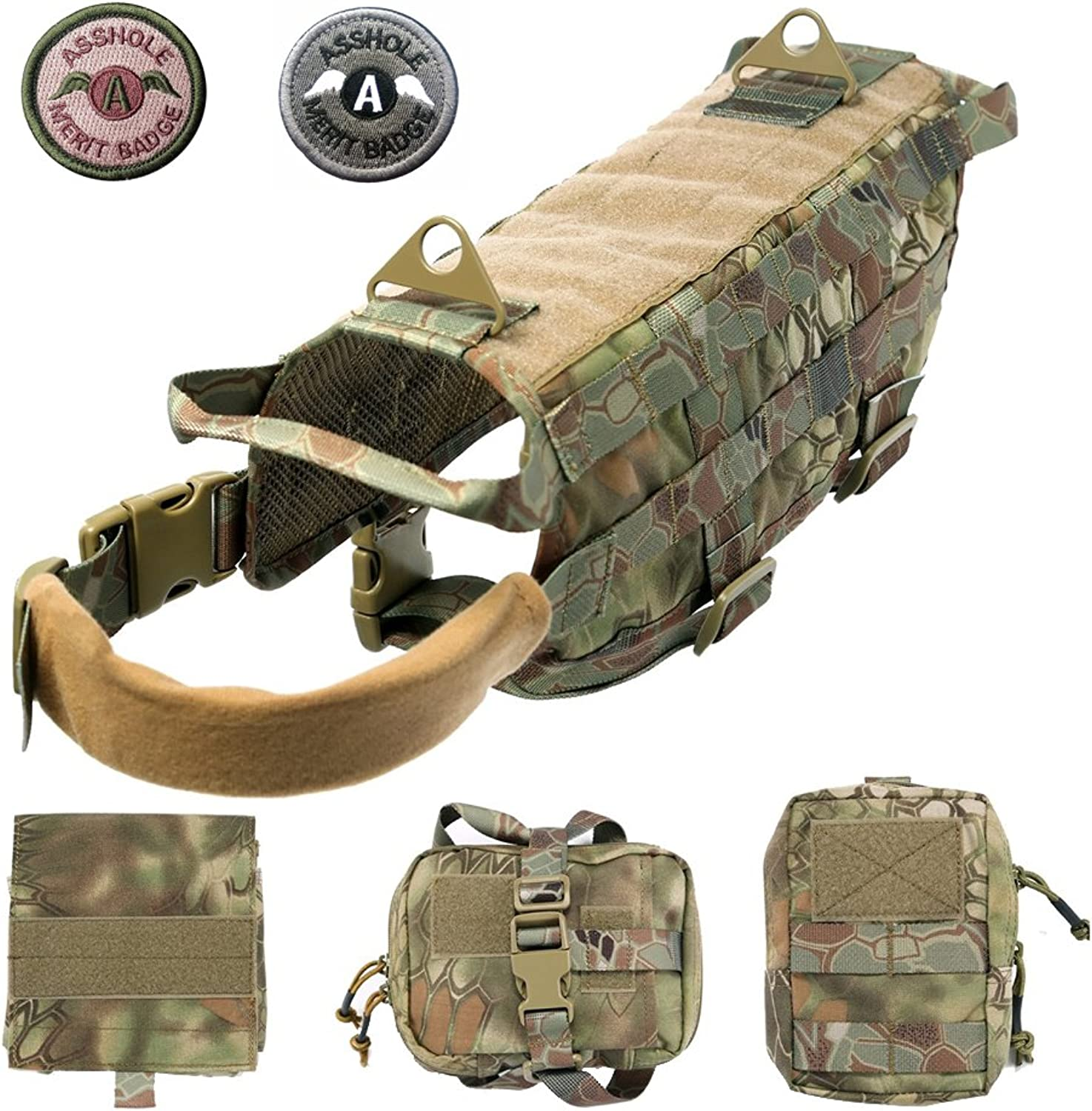 Lifeunion Tactical Dog Molle Harness Nylon Training Patrol Vest Backpack Packs with 3 Detachable Pouches (M, MAD 1)