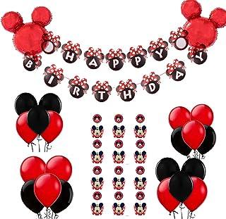 REYOK Decoraciones de cumpleaños de Mickey Mouse, Bolas de Nido de Abeja de Mickey Globo de Red Black, Banner de Happy Bir...