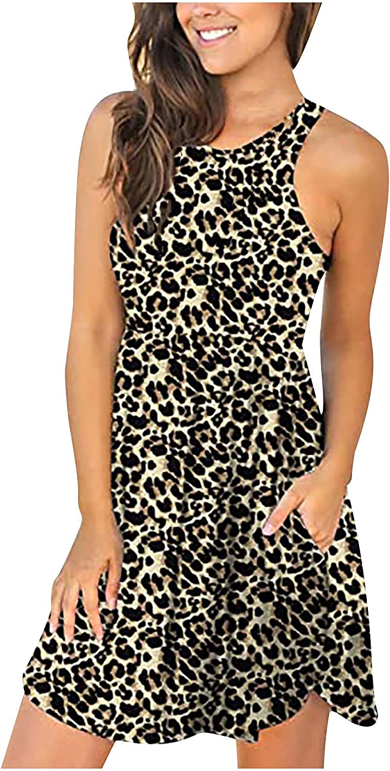 Tank Dress with Under blast sales Pockets for Prin Summer Factory outlet Leopard Women Sleeveless