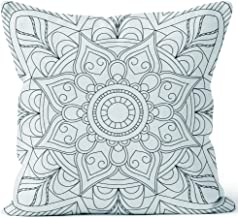 Nine City Flower Circular Mandala for Adults Coloring Book Page Design Anti Stress Black and White Vintage Decorative Element Mono Sack Burlap Pillow,HD Printing Square Pillow case,28