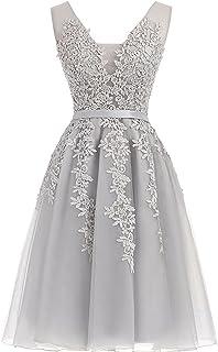 Cdress Vestido Tul Corto Homecoming Vestidos Applique Prom Noche Gowns Cuello en V cóctel Gowns