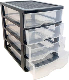 Plastic Forte - Cajonera de plástico Negra 4 cajones 35 x 27 x 35.5 cm