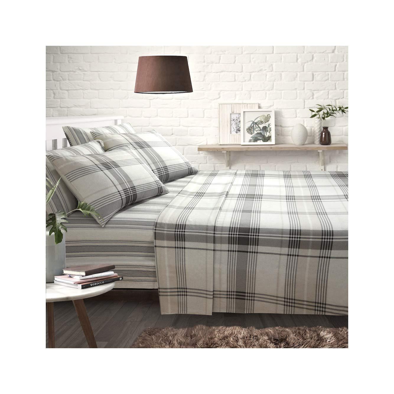 Natural, Single   Includes Fitted Sheet ShawsDirect Burlington Check 100/% Pure Brushed Cotton Sheet Set Flat Sheet /& Pillowcase s