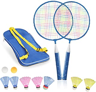 STSTECH Badminton Rackets for Children,12 in 1 Shuttlecocks Racquet Sports Set w/Lightweight Carrying Bag for Kids Professionals Beginner Players Indoor Outdoor Sport Game