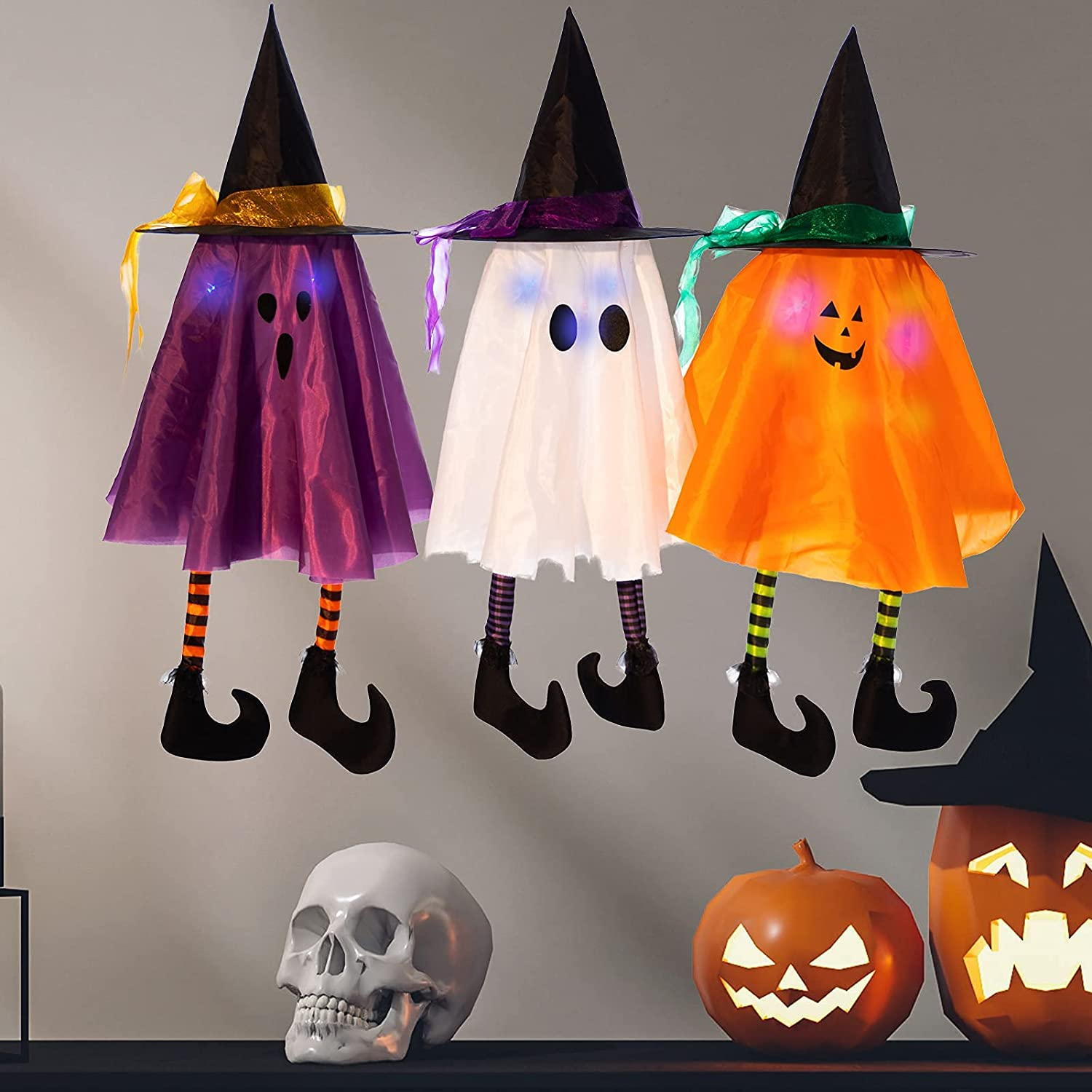 HOLLO STAR 3 Pack Halloween Decorations Cute Light Up Hanging Ghost with Witch Hats, Party Favors Holiday Prop Decor, Indoor Outdoor for Patio Garden Yard Decoration