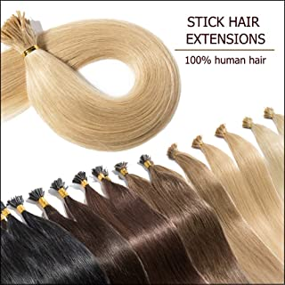 """100 Strands I Tip Hair Extensions Human Hair Highlight Ash Blonde 18 Inch Soft Straight Remy Hair Pre Bonded Stick Shoelace Tips—18"""", 24, 50g"""