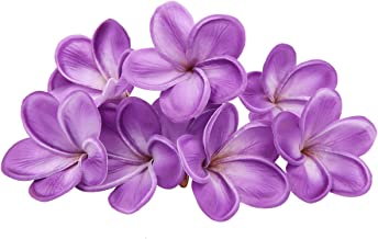 Unigift Bunch of 10 PU Real Touch Lifelike Artificial Plumeria Frangipani Flower Without The twig Bouquets Wedding Flowers Home Party Decoration (Purple)
