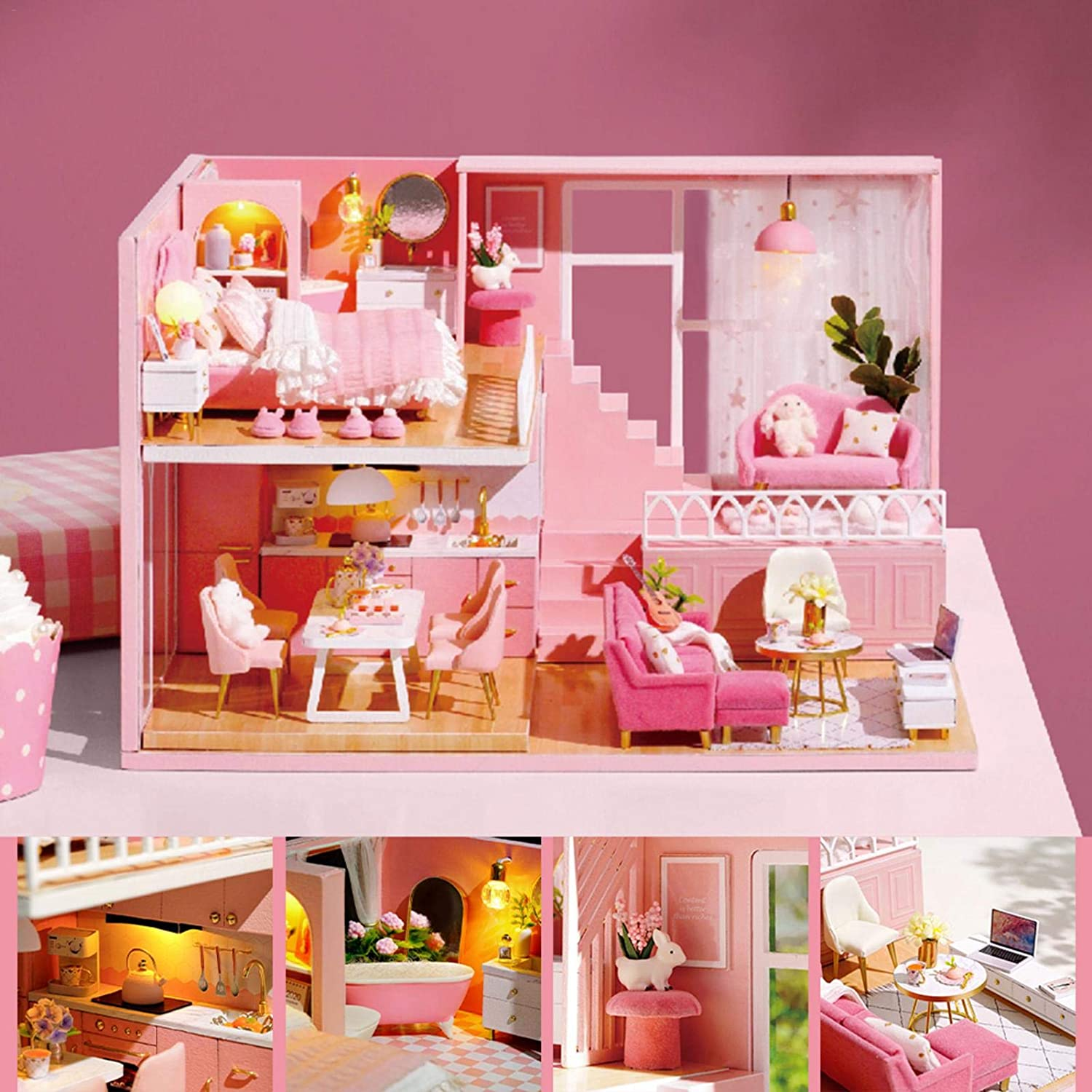 DIY Dollhouse Three-Dimensional Assembly Minneapolis Mall Beauty products Hous Cottage Miniature