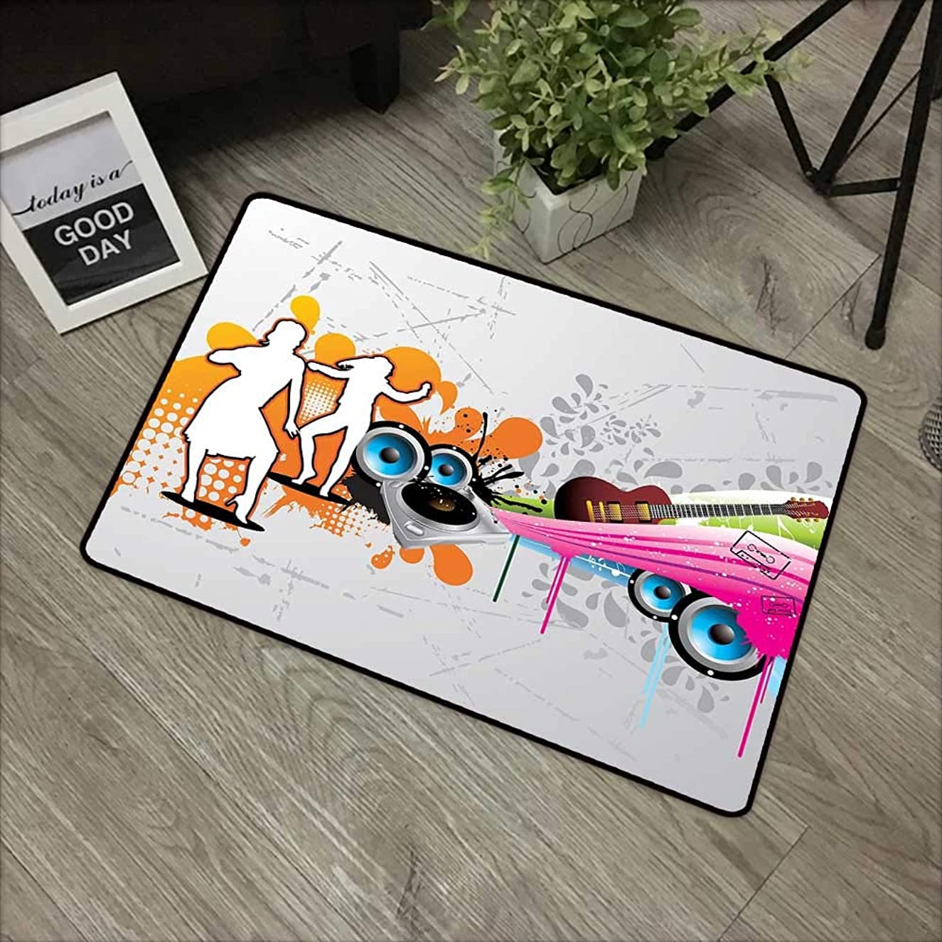 Bathroom Door mat W35 x L59 INCH Grunge,Music People with Turntable and Speakers Dancing Funky Urban Nights Guitar Print,Multicolor Non-Slip, with Non-Slip Backing,Non-Slip Door Mat Carpet
