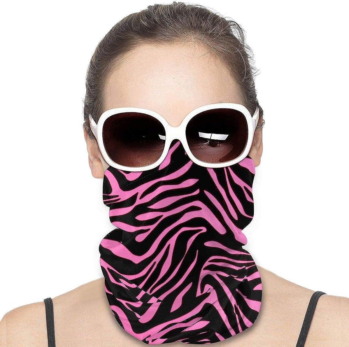 Tidyki Neck Gaiters for Men - Pink and Black Zebra Print Motorcycle Mask Neck Gaiter Multifunctional Headwear Head Bands Sport Mask Headband Face Mask Bandana