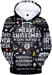 SLYZ 2020 Men's Autumn and Winter New Christmas Hooded Casual Printed Sweater All-Match Couple Sweater
