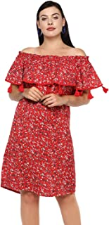 Lastinch Women's Plus Size Knee Length Off-Shoulder Red Dress (28)