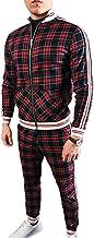 U/N Diagonale geruite bedrukte basketbal trainingspakken heren sportkleding set zip up sweatshirt pak opstaan kraag geribb...
