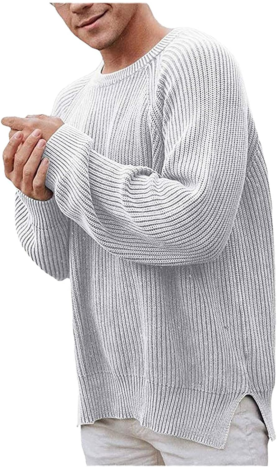 WoCoo Men's Cable Knitted Sweaters Solid Long Sleeve Round Neck Pullover Sweatershirt Casual Loose Chunky Thermal Top Blouse
