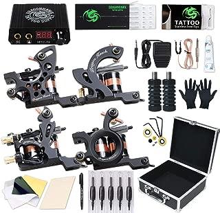 Dragonhawk Complete Tattoo Kit, 4 Craft Coils Tattoo Machines Gun, Tattoo Power Supply Needles Foot Pedal Grips, Tattoo Kit with Case