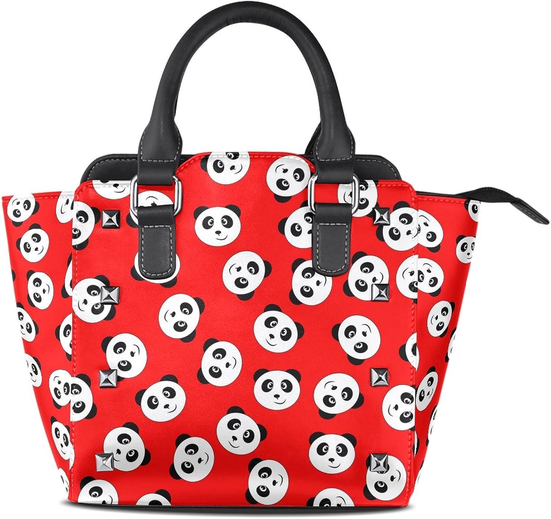 My Little Nest Women's Top Handle Satchel Handbag Smile Panda Red Ladies PU Leather Shoulder Bag Crossbody Bag