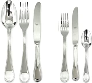 Mepra Boheme 36 Pcs Flatware Set with Hollow Handles – Silver Tableware, Dishwasher Safe Cutlery