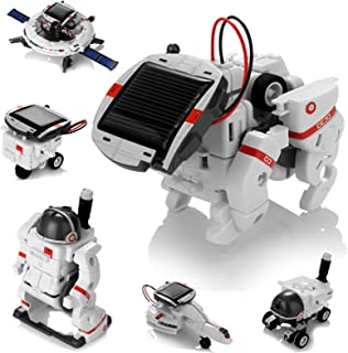 Solar Robot Toys 6 in 1 STEM Learning Kits Educational Space Moon Exploration Fleet Building Experiment Toys DIY Solar Pow...
