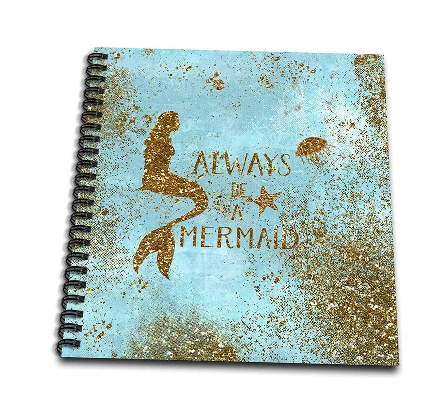 3dRose db_266916_3 Gold Glittery Mermaid Quote On Sparkling Teal Mini Notepad, 4 x 4