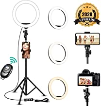 8'' Selfie Ring Light with Adjustable Tripod Stand - Upgraded Dimmable Camera Ring Light with Phone Holder for TikTok/YouTube/Live Stream/Makeup/Photography Compatible with iPhone Android Samsung