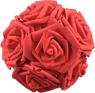HEBE 50pcs Artificial Flowers Roses Heads Red Real Looking Foam Roses Bulk w/Stem for DIY Wedding Bouquets Corsages Centerpieces Arrangements Baby Shower Cake Flower Decorations