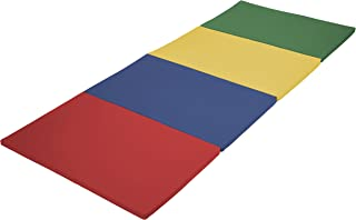 ECR4Kids SoftZone 4-Section Folding Panel Kids Tumbling Exercise Mat, 4 x 10 Feet, 1.5 Inches Thick Plush, Assorted