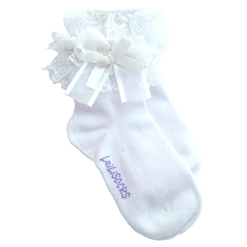 ba0742139147 Baby Girl Pack of 2 WHITE Super Soft Lace Frilly Ankle Socks Age 1 2