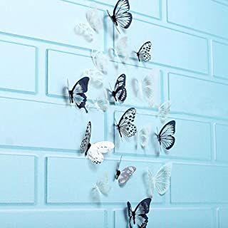 WOCACHI Wall Stickers Decals 36 Pcs 3D Black White Butterfly Sticker Art Wall Decal Mural Home Decoration Art Mural Wallpaper Peel & Stick Removable Room Decoration Nursery Decor