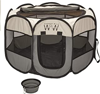 Portable Pet Playpen for Small Dogs - Innovative Foldable Pet Playpen with Removable Roll Top Cover for Shade - Indoor Out...