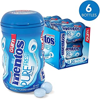 Mentos Pure Fresh Sugar-Free Chewing Gum with Xylitol, Fresh Mint, Stocking Stuffers Candy, Bulk Gifts, 50 Piece Bottle (Pack of 6)
