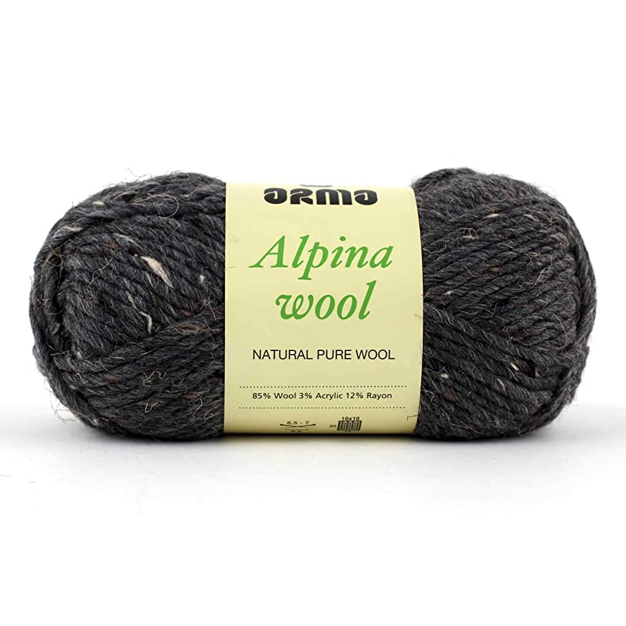 Alpina Wool (Dark Gray Mix) 4 Pack (Skeins) Wool Roving Yarn - (5) Bulky 85% Wool, 3% Acrylic, 12% Rayon - 3oz - for Crochet, Knitting & Crafting