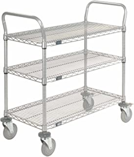 Wire Shelf Utility Cart With Brakes, 3 Shelves, 800 Lb. Capacity, 48x24x38